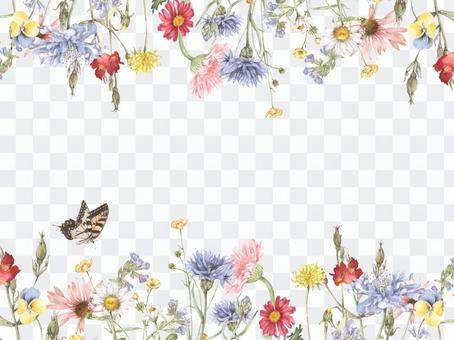 Flower frame 175 - Decorative frame of pretty flower garden, frame