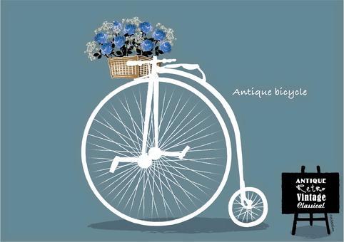 アンティーク筆書き風 手描き 花と自転車