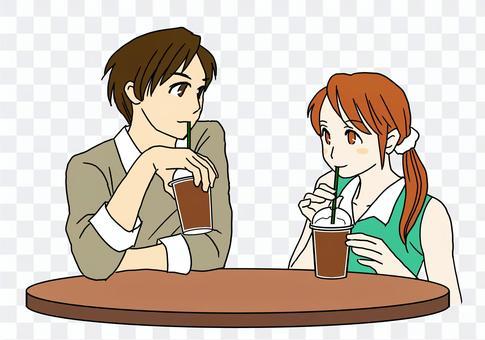 咖啡館約會情侶