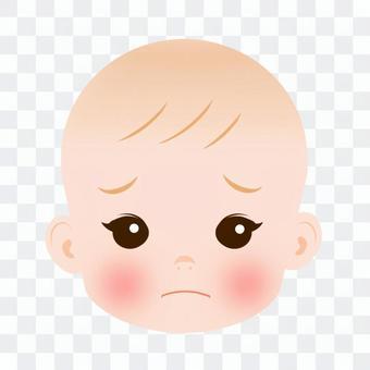 寶寶的臉上膽怯