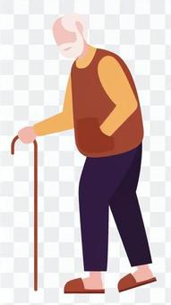 Grandfather walking with a cane