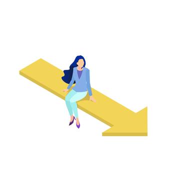 職業女性坐在箭頭上