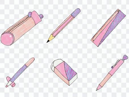 Writing utensil set (pink)