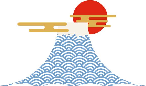 青海藍白波浪紋富士山