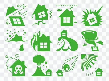 Disaster prevention icon green