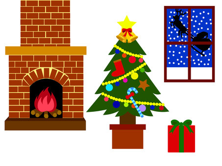 Christmas tree, fireplace and gifts