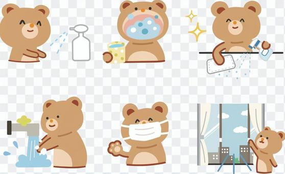 Infectious disease countermeasure bear illustration set
