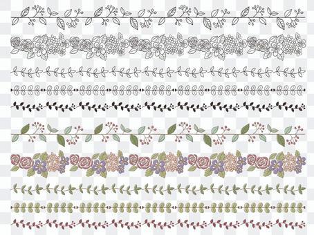 北欧風 手書き 植物 草花 ライン1
