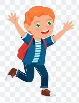一個舉起他的手跑起來的男孩