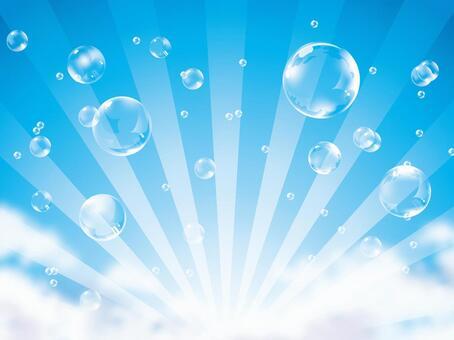 (CMYK)藍天和肥皂泡沫和輻射背景