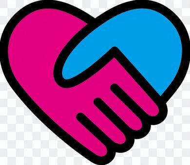 心_握手_粉紅色和藍色