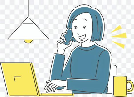 Illustration of a woman during telework