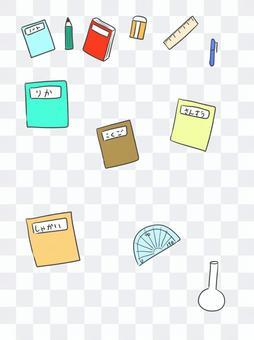 Textbooks and writing utensils