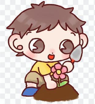 園芸、ガーデニングをする男の子