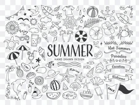 手繪線圖插圖集的夏天和大海
