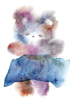 小憩泰迪熊熊透明水彩手繪出血
