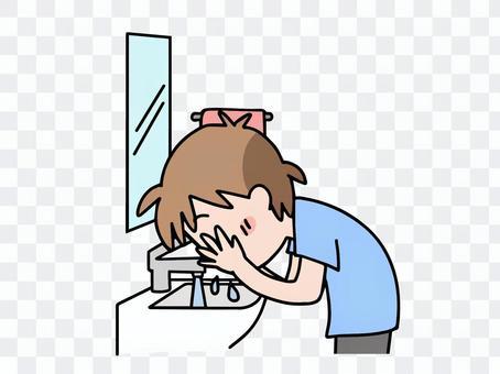 Washing face