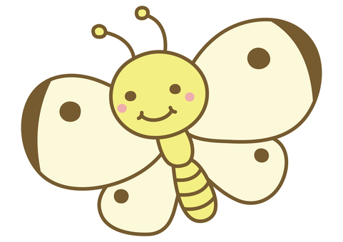 Illustration of a cute cabbage white butterfly