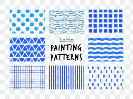Simple hand-painted pattern (blue)
