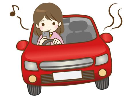 駕駛智能手機的年輕女子
