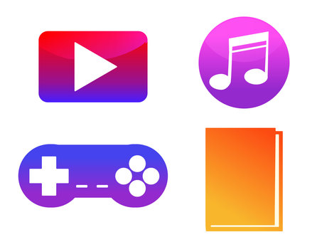 Digital content icon set