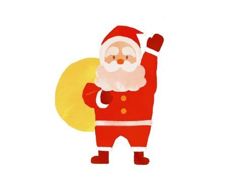 水彩風格的聖誕老人全身圖