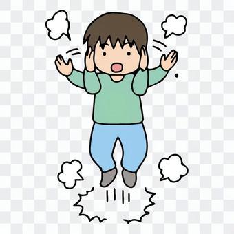 一個患有自閉症的孩子,反複合上跳躍的耳朵