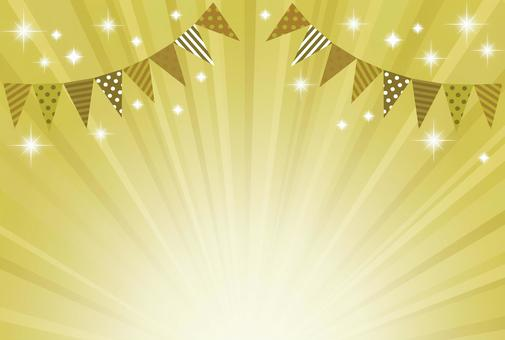 チラシイベント旗・キラキラ放射状ゴールド