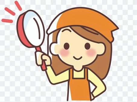 A woman with a frying pan (048)