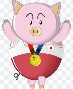Pig Pig Winner Gold Medal Hinomaru