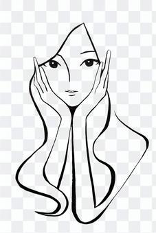 女人把她的手放在她的臉頰上