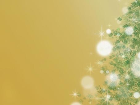 輝くクリスマスツリー背景・ゴールド