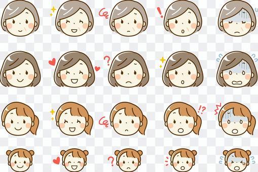 每個年齡的女性_面部表情與各種裝飾表現