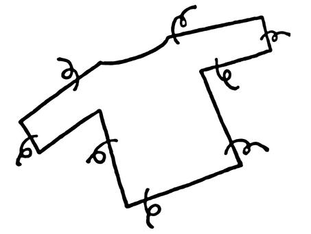 磨損的衣服/線條圖