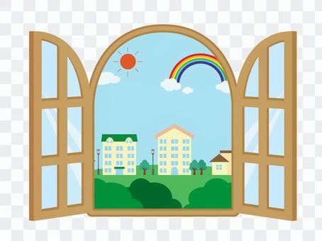 從窗戶看到的鎮