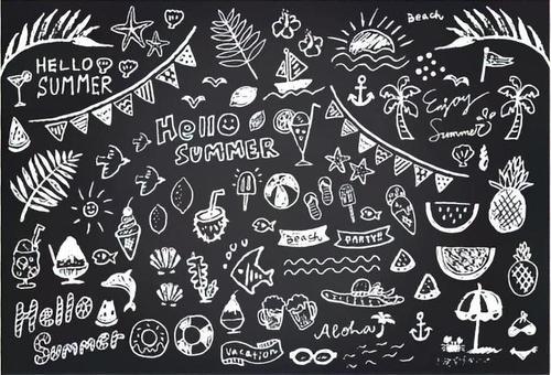 黑板藝術夏季系列白色1色Ver。