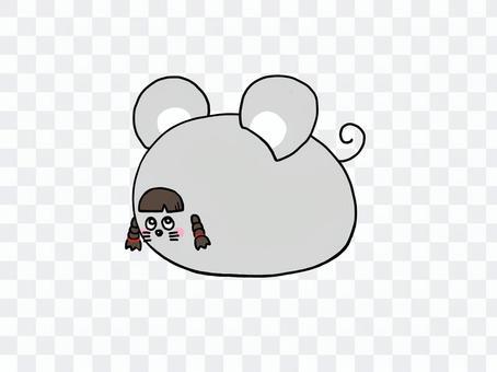 鼠標_辮子_小孩_新年賀卡_材質