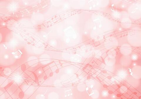 閃光背景粉紅色側的光和音符