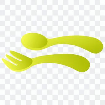 兒童湯匙和叉子(黃色)