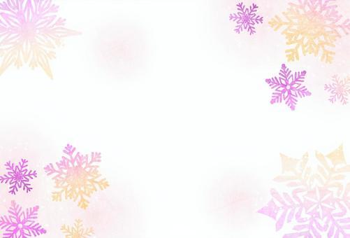 雪の結晶のポストカード赤系
