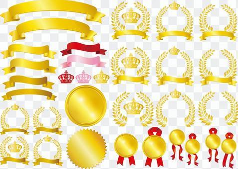 皇冠月桂金金框架裝飾框架背景