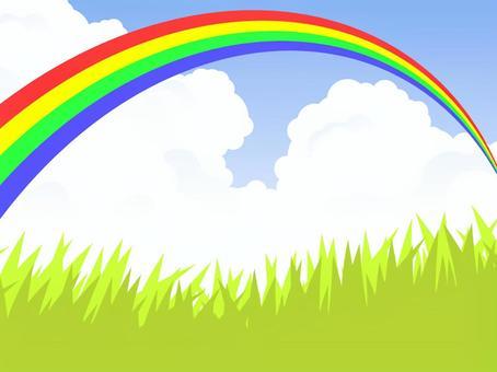 草原和彩虹橋(4色彩虹)彩虹清晰