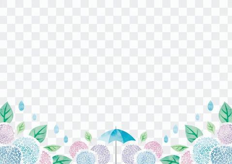 夏天背景框架026繡球花水彩