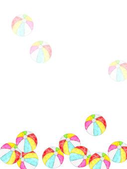 水彩蓬鬆紙氣球裝飾框日式