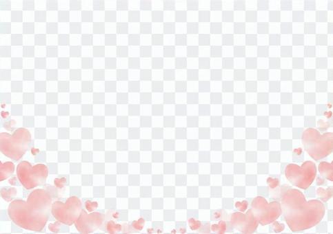 粉紅心形框架(水彩手繪風格)