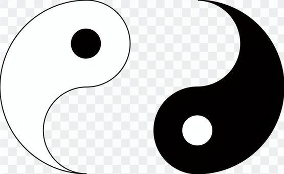Yin Yang Taijitu Separate Icon Illustration Material