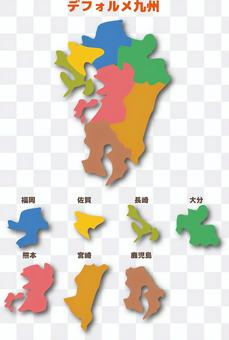 九州日本地圖多彩的陰影