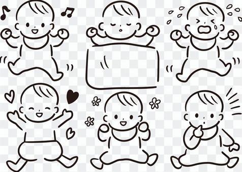 赤ちゃん手書き風イラスト