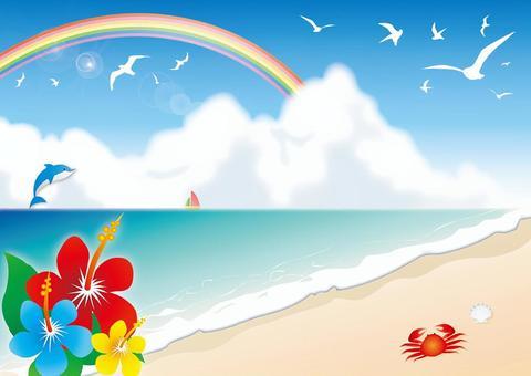 芙蓉,海邊和彩虹插圖
