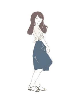 Girl in long skirt whole body